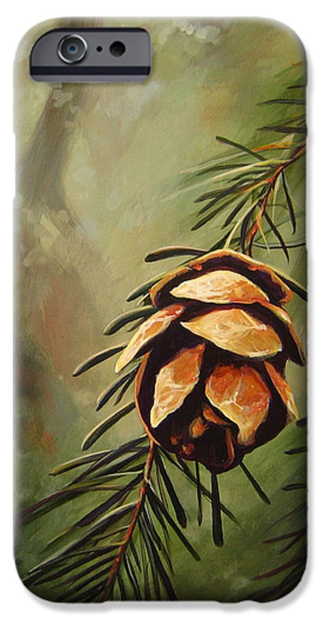 Closeup Of Spruce Cone IPhone 6 Case featuring the painting Solstice by Hunter Jay