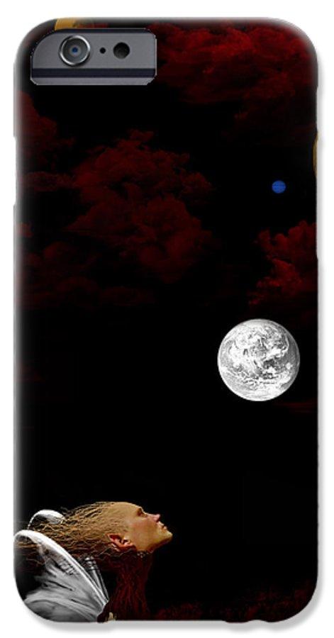 Moon IPhone 6 Case featuring the digital art Sometimes I Wonder by Ruben Flanagan