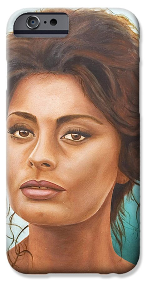 Moviestar IPhone 6 Case featuring the painting Sophia Loren by Rob De Vries