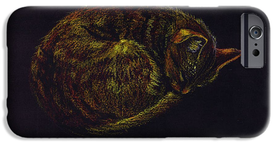 A Cat Soundly Asleep-oil Pastel IPhone 6 Case featuring the painting Sound Asleep II by Mui-Joo Wee