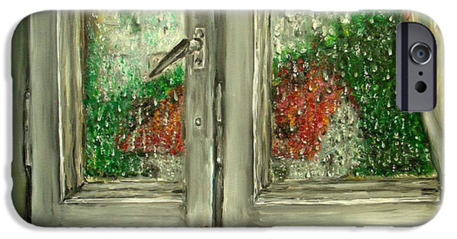 Rain IPhone 6 Case featuring the painting Sound Of Rain Oil Painting by Natalja Picugina