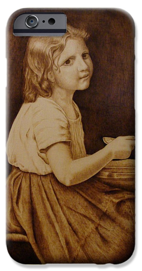 Portrait; Soup; Stool; Spoon; Sepia; Skirt; IPhone 6 Case featuring the pyrography Soup by Jo Schwartz