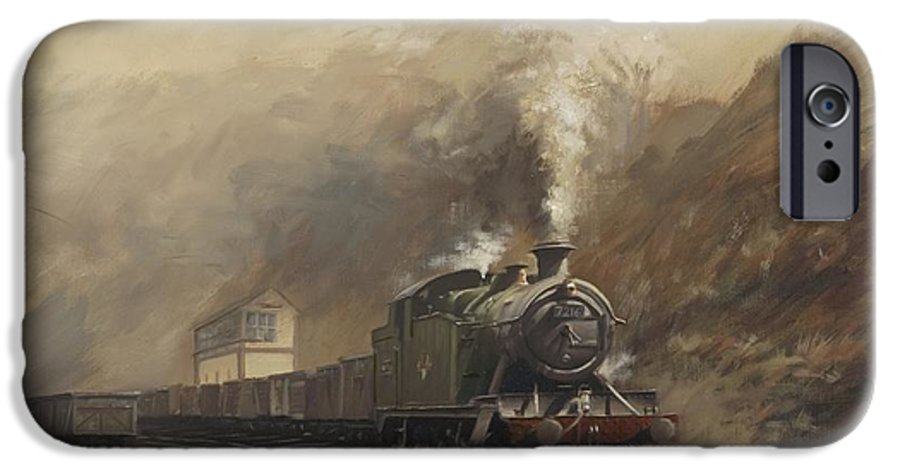 Steam IPhone 6 Case featuring the painting South Wales Coal Train by Richard Picton