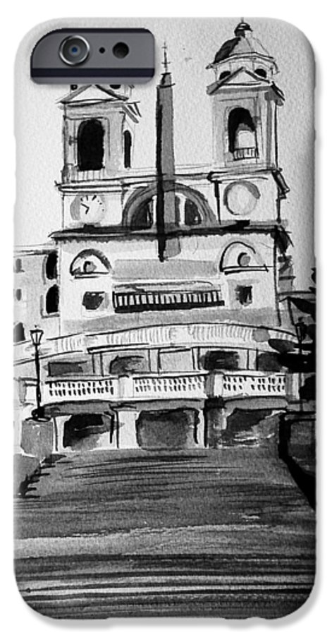 Ink IPhone 6 Case featuring the painting Spanish Steps by Laura Rispoli