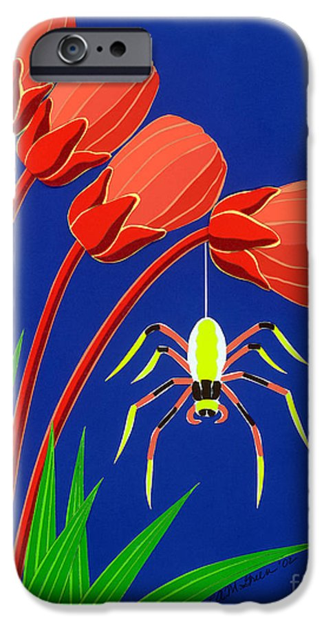Nature IPhone 6 Case featuring the drawing Spider by Lucyna A M Green