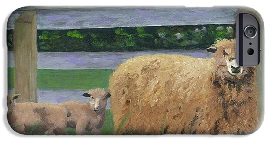 Sheep Lambs Countryside Farm Spring IPhone 6 Case featuring the painting Sping Lambs by Paula Emery