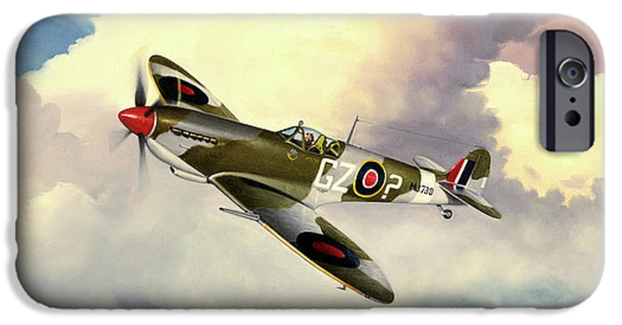 Military IPhone 6 Case featuring the painting Spitfire by Marc Stewart