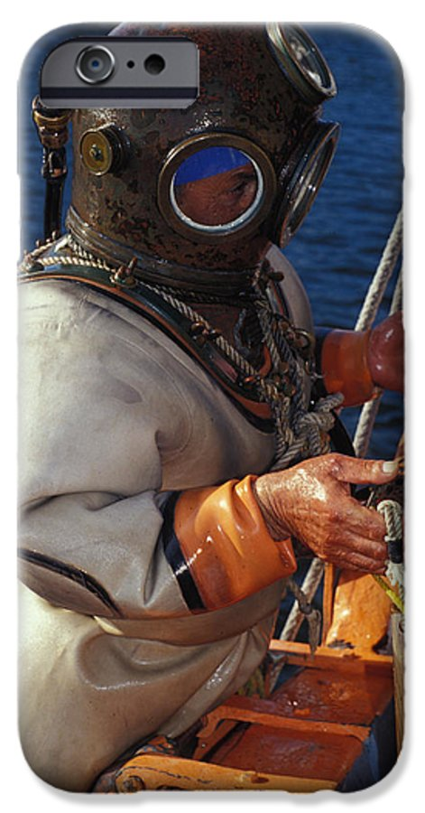 Hard Hat IPhone 6 Case featuring the photograph Sponge Diver by Carl Purcell
