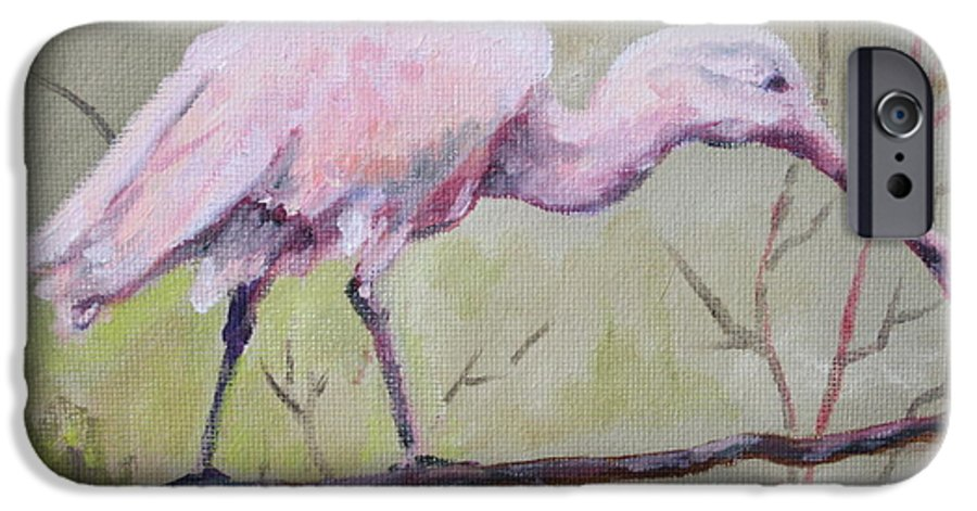 Bird IPhone 6 Case featuring the painting Spoonbill by Carol Mueller