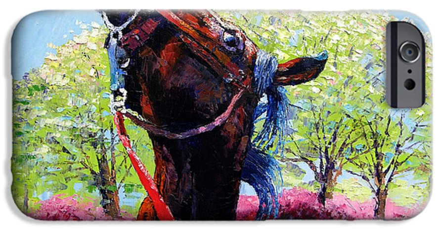 Horse IPhone 6 Case featuring the painting Spring Fever by John Lautermilch