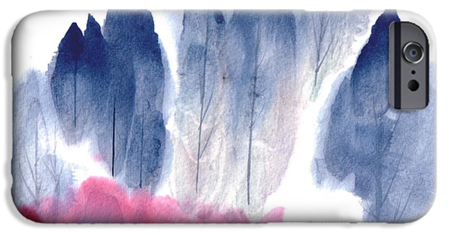 A Forest With Red Blooming Bushes In Spring. This Is A Contemporary Chinese Ink And Color On Rice Paper Painting With Simple Zen Style Brush Strokes.  IPhone 6 Case featuring the painting Spring Forest by Mui-Joo Wee