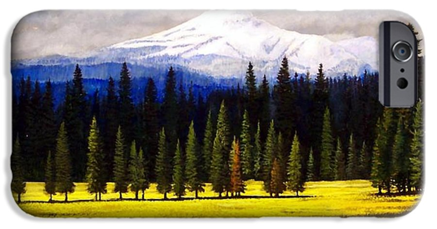 Landscape IPhone 6 Case featuring the painting Spring Meadow Mount Brokeoff by Frank Wilson