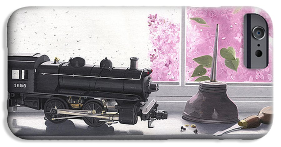 Lionel IPhone 6 Case featuring the painting Spring Rain Electric Train by Gary Giacomelli