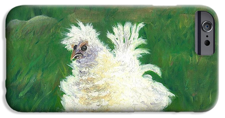 Bantam Frizzle Farmscene Chickens Hen Bird Nature Animals Spring Freerangers IPhone 6 Case featuring the painting Squiggle by Paula Emery