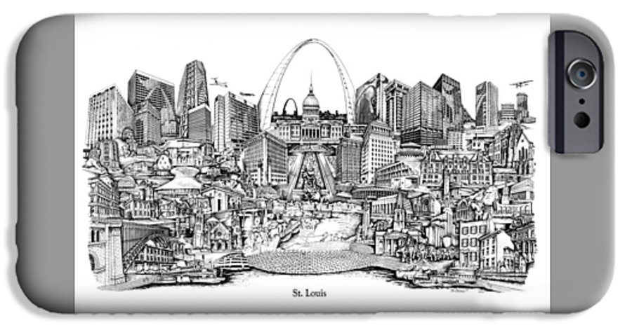 City Drawing IPhone 6 Case featuring the drawing St. Louis 4 by Dennis Bivens