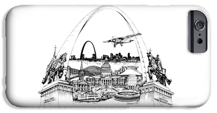 City Drawing IPhone 6 Case featuring the drawing St. Louis Highlights Version 1 by Dennis Bivens