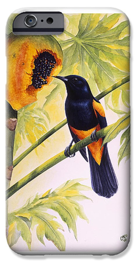 Chris Cox IPhone 6 Case featuring the painting St. Lucia Oriole And Papaya by Christopher Cox