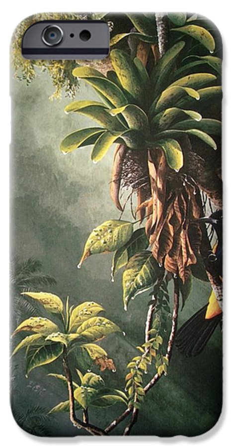 Chris Cox IPhone 6 Case featuring the painting St. Lucia Oriole In Bromeliads by Christopher Cox