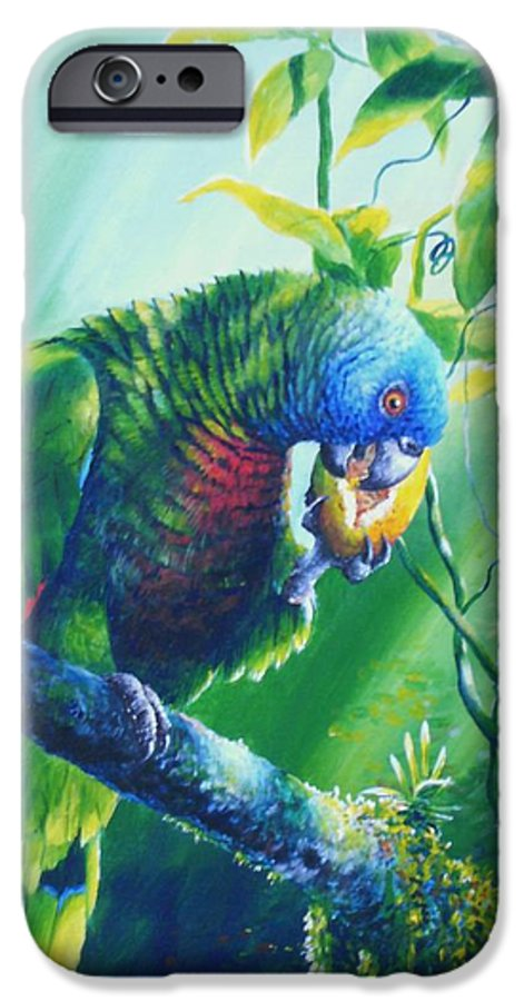 Chris Cox IPhone 6 Case featuring the painting St. Lucia Parrot And Wild Passionfruit by Christopher Cox