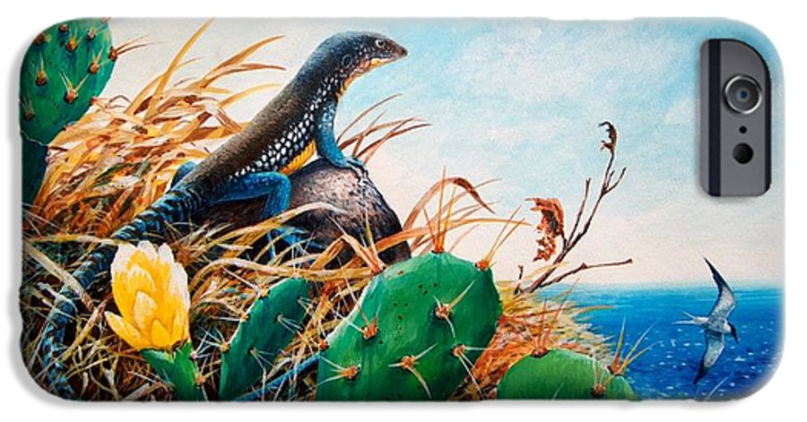 Chris Cox IPhone 6 Case featuring the painting St. Lucia Whiptail by Christopher Cox