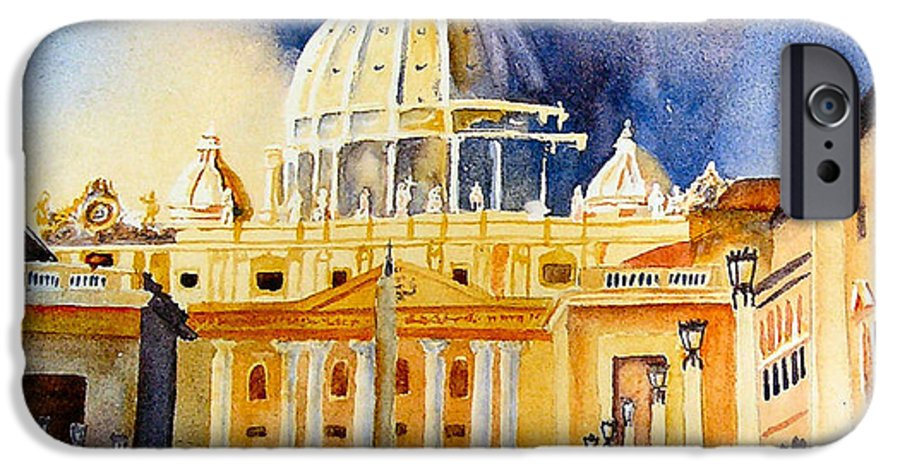 Vatican IPhone 6 Case featuring the painting St. Peters Basilica by Karen Stark