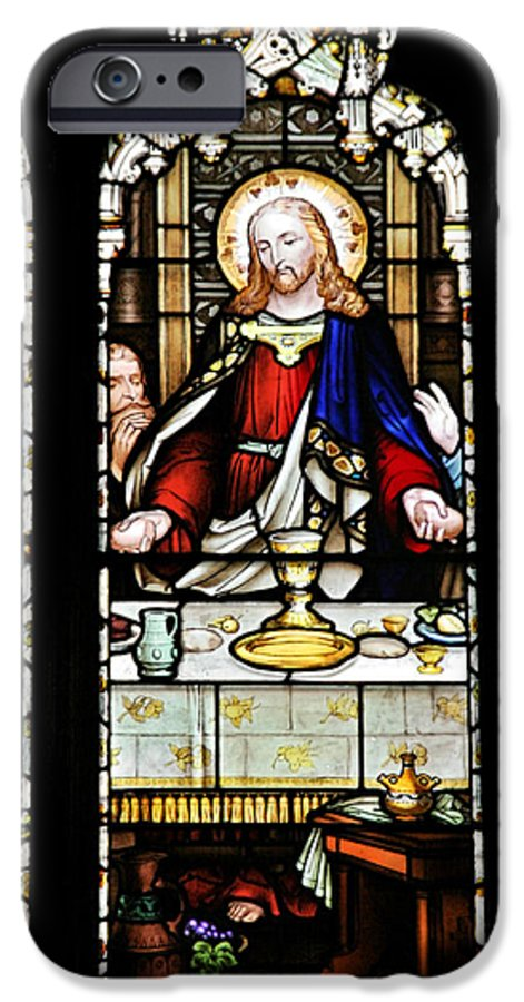 Stained IPhone 6 Case featuring the photograph Stained Glass Window Last Supper Saint Giles Cathedral Edinburgh Scotland by Christine Till