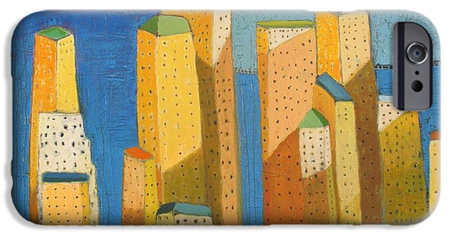 Abstract Cityscape IPhone 6 Case featuring the painting Standing High by Habib Ayat