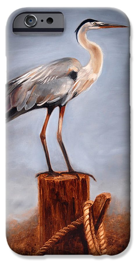 Heron IPhone 6 Case featuring the painting Standing Watch by Greg Neal