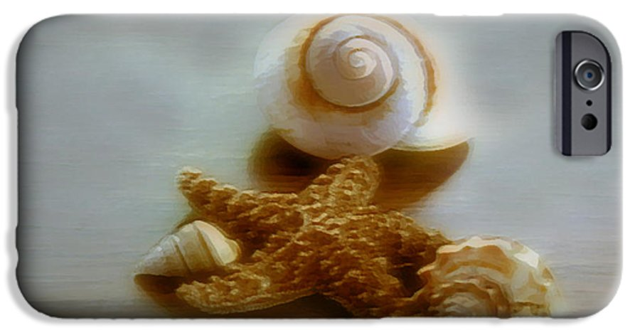 Beach Art IPhone 6 Case featuring the photograph Star And Shells by Linda Sannuti