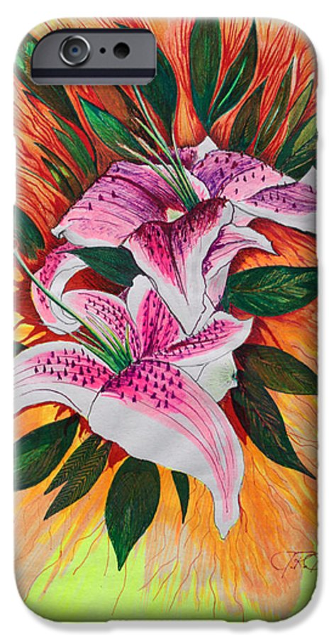 Flowers IPhone 6 Case featuring the drawing Stargazers by J R Seymour