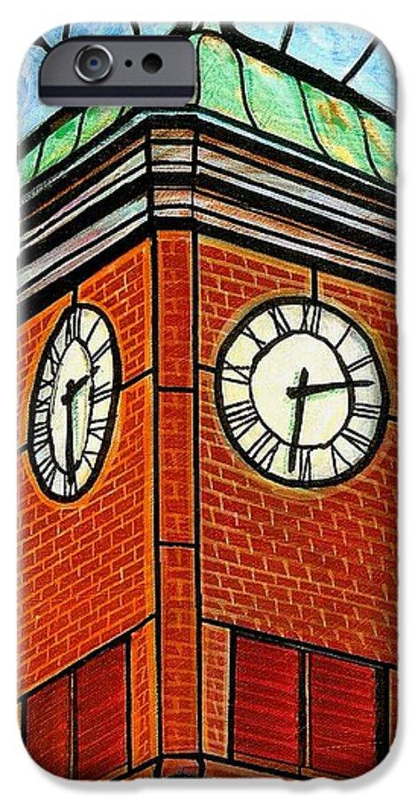 Clocks IPhone 6 Case featuring the painting Staunton Clock Tower Landmark by Jim Harris