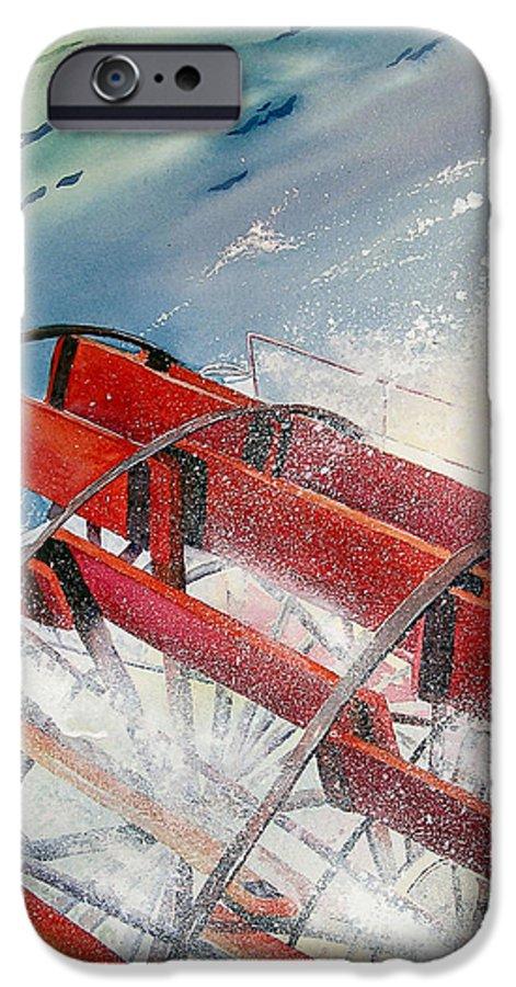 Paddlewheeler IPhone 6 Case featuring the painting Sternwheeler Splash by Karen Stark