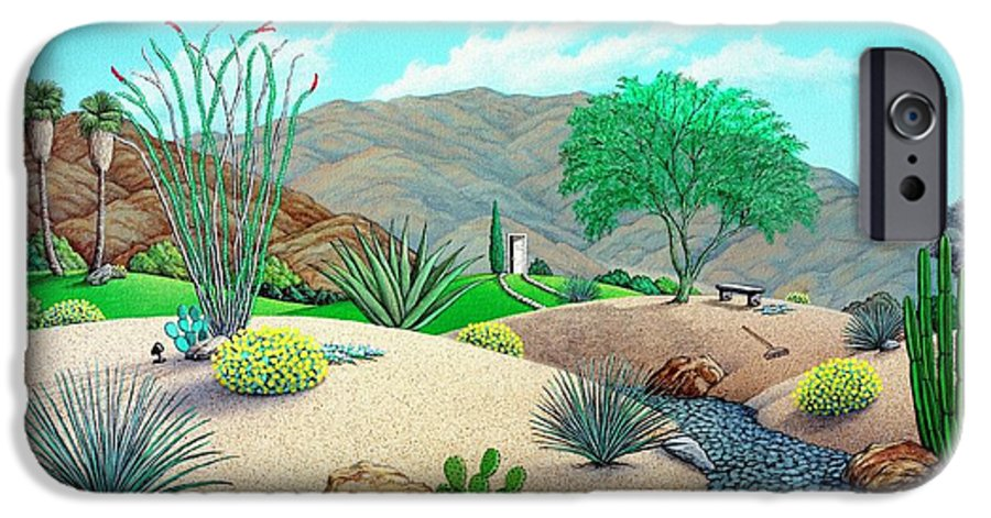 Desert IPhone 6 Case featuring the painting Steves Yard by Snake Jagger