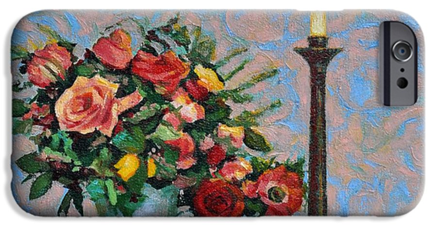 Flowers IPhone 6 Case featuring the painting Still Life With A Lamp by Iliyan Bozhanov