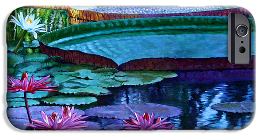 Garden Pond IPhone 6 Case featuring the painting Stillness Of Color And Light by John Lautermilch