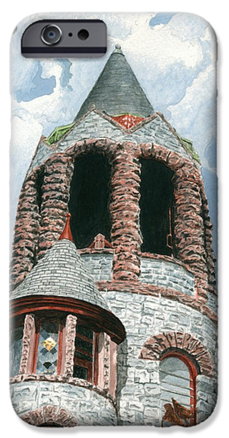 Church IPhone 6 Case featuring the painting Stone Church Bell Tower by Dominic White