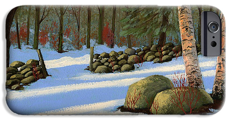 Landscape IPhone 6 Case featuring the painting Stone Wall Gateway by Frank Wilson
