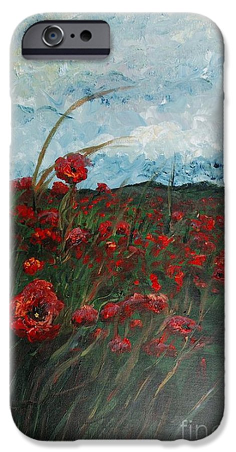Poppies IPhone 6 Case featuring the painting Stormy Poppies by Nadine Rippelmeyer