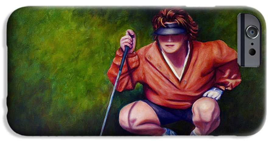 Golfer IPhone 6 Case featuring the painting Straightshot by Shannon Grissom