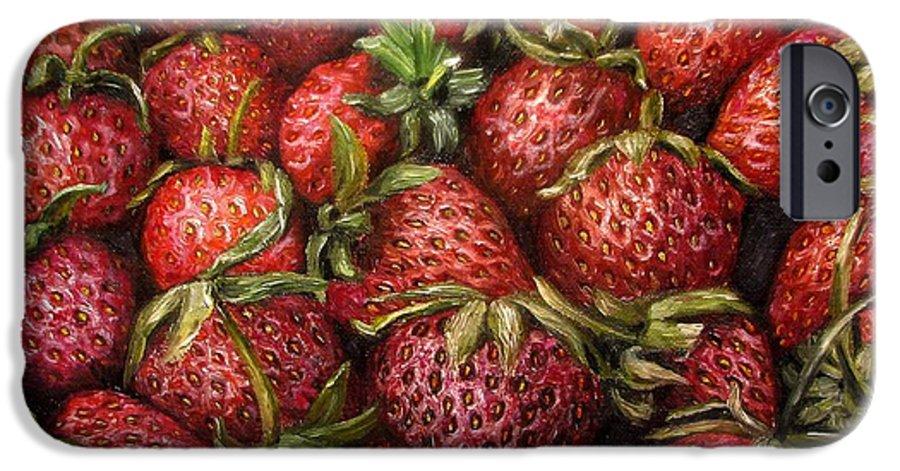 Strawberries IPhone 6 Case featuring the painting Strawberries -2 Contemporary Oil Painting by Natalja Picugina