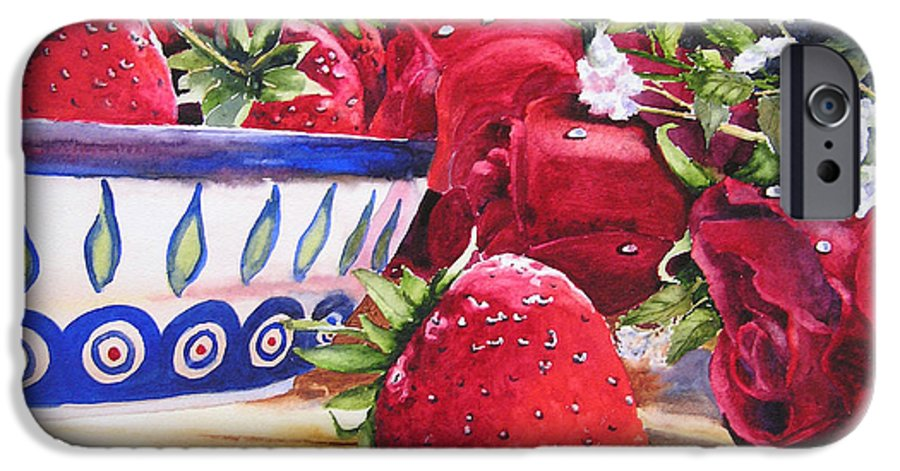Strawberries IPhone 6 Case featuring the painting Strawberries And Roses by Karen Stark
