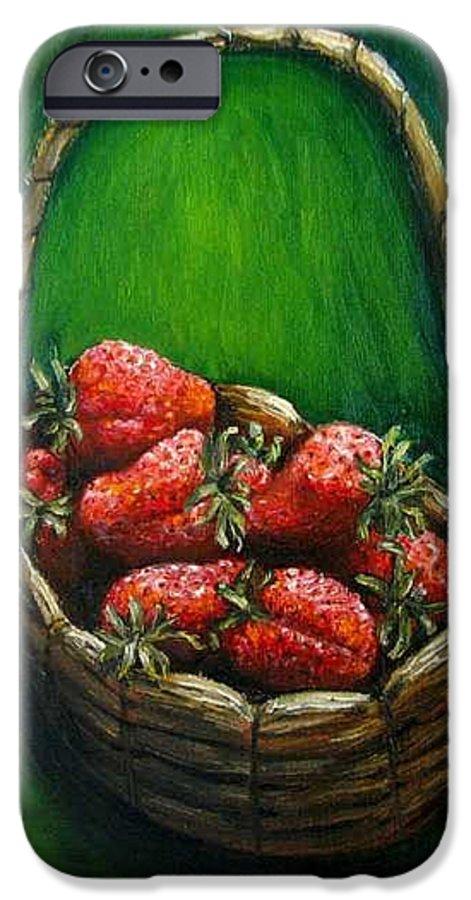 Strawberries IPhone 6 Case featuring the painting Strawberries Contemporary Oil Painting by Natalja Picugina