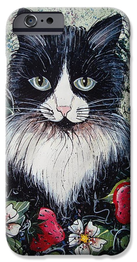 Cat IPhone 6 Case featuring the painting Strawberry Lover Cat by Natalie Holland