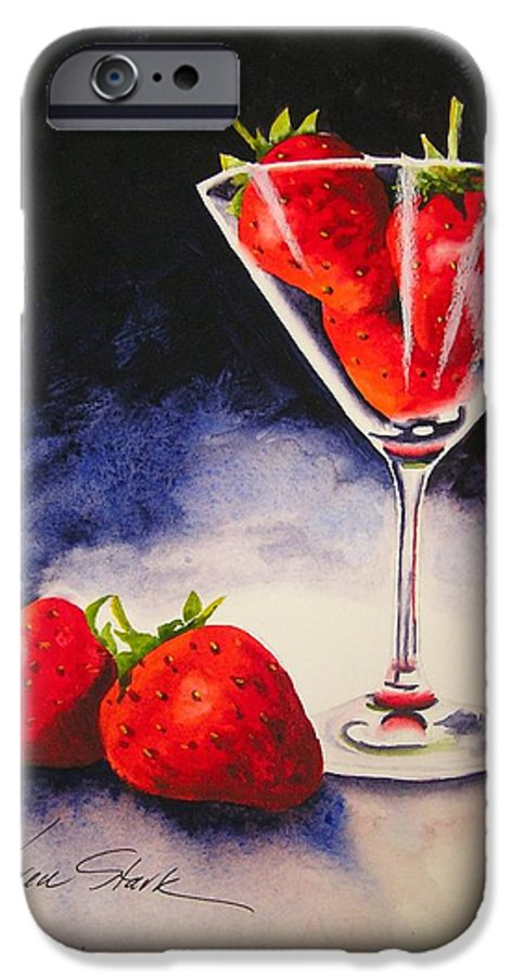 Strawberry IPhone 6 Case featuring the painting Strawberrytini by Karen Stark