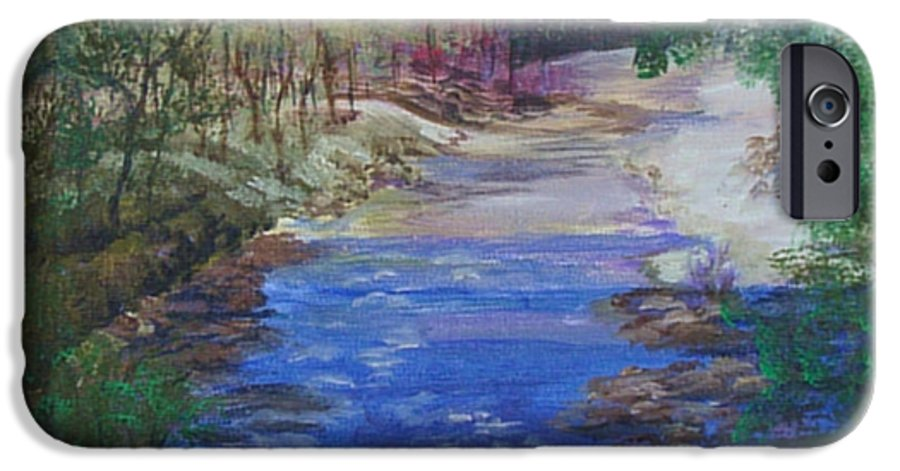 River IPhone 6 Case featuring the painting Stream At Yosemite by Quwatha Valentine
