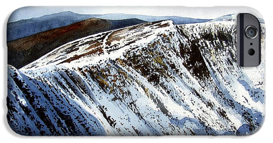 Helvellin IPhone 6 Case featuring the painting Striding Edge Leading To Helvellin Sumit by Paul Dene Marlor