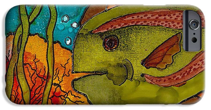Fish IPhone 6 Case featuring the painting Striped Fish by Susan Kubes