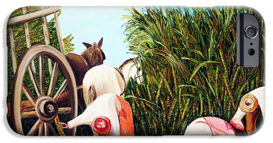 Cuban Art IPhone 6 Case featuring the painting Sugarcane Worker 1 by Jose Manuel Abraham