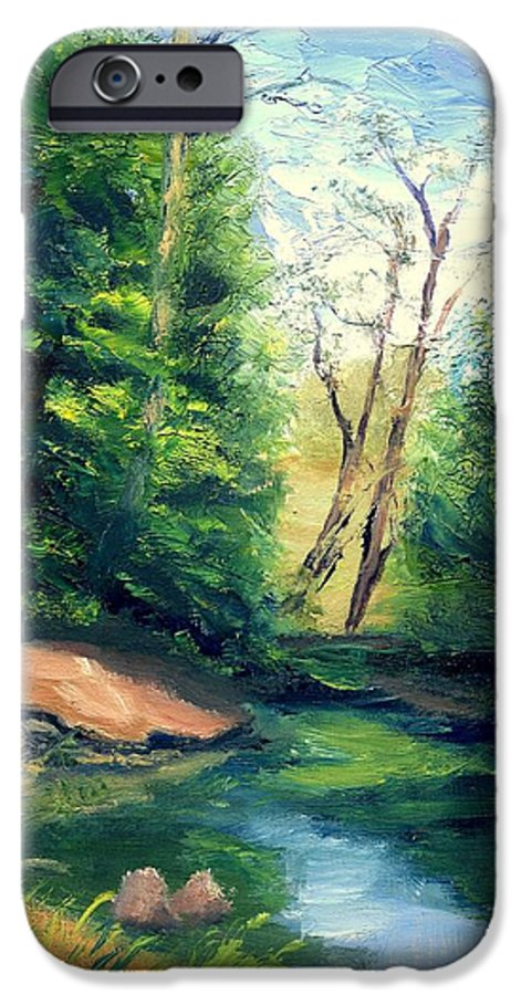 Landscape IPhone 6 Case featuring the painting Summer At Storm by Gail Kirtz