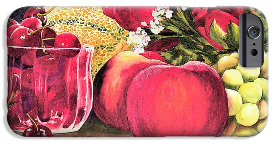 Cherries IPhone 6 Case featuring the painting Summer Bounty by Karen Stark